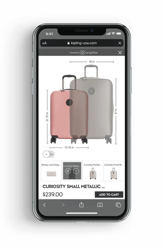 Tangiblee's product experience platform for online retail.